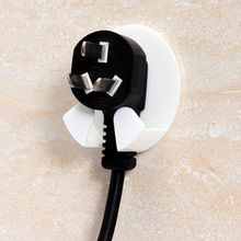 4Pcs Home Office Wall Adhesive Plastic Power Plug Socket Holder Hanger Hook paste type(China)