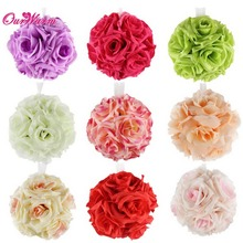 OurWarm 10Pcs Rose Silk Flowers Ball Wedding Flowers Decorative Flowers Wreaths Hanging Rose Ball for Party Decoration Supplies(China)