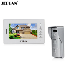 JERUAN FREE SHIPPING 7`` LCD TFT Color Video doorphone Intercom system 1 white monitor 700TVL Metal panel Pinhole camera