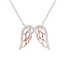 BELLA Fashion 925 Sterling Silver Dual Angel Wing Pendant Necklace Clear Cubic Zircon Necklace For Women Lady Party Jewelry Gift(China)