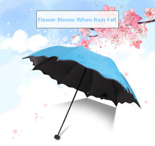 Magic Flower Bloom when Rain/Water Fall Sun&Rain Umbrella  WindProof Compact Lightweight Color Ultraviolet-proof Umbrellas