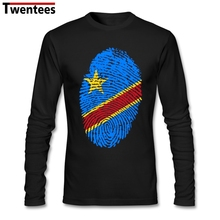 Custom Congo Flag Fingerprint Tshirt Men Birthday Gift Men's Custom Long Sleeve Autumn Cotton Retro Primer T Shirts