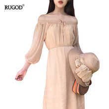 Rugod Fashion Women Clothing Sweet Off Shoulder Solid Dress 2017 Summer Women Casual Boho Midi Beach Dresses Femme Vestidos(China)