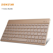 Zienstar Ultra Slim Wireless Bluetooth KEYBOARD with 7 colors LED Back Light for IPAD/Iphone/Mac/LAPTOP /DESKTOP PC/ TABLET(China)