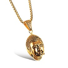 Great Ru Lai Buddha Transport security and peace Necklace Men, 316L Titanium Chain Pendant Necklaces, Long Neckless Men Jewelry