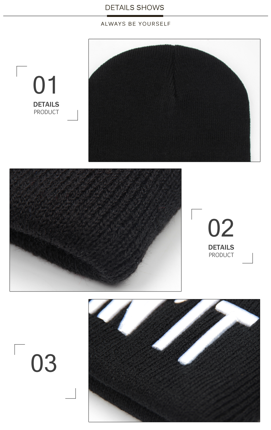 ADK Simple Design Black Hat For Women Beanies Embroidery Winter Fashion Beanie Female Soft And Warm Skullies Beanies (3)
