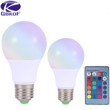 Buy GBKOF RGB LED Lamp E27 3W 5W 10W LED RGB Light Lampada LED Bulb AC85-265V SMD5050 16 Colors Change IR Remote Controller for $2.80 in AliExpress store