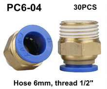 "30pc/lot PC6-04, Hose 6mm, Thread 1/2"" Brass Pneumatic fitting, Brass Fast Coupling Push in Quick Joint Connector"