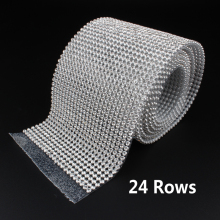 24 Rows SS8 Diamond Hotfix Rhinestone Mesh Banding Chain with silver Aluminum base crystal trim mesh 7.8cm*120cm for garment(China)