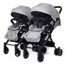 Separable Baby Twins Strollers Lying and Sitting Folding Twins Stroller Light Portable Baby Carriage Pram for Double 4 Colors