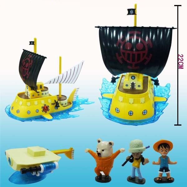 22CM Japan Anime ONE PIECE Red Heart Pirate Crew submarine MUGIWARA Luffy Trafalgar Law Bepo High quality  PVC Collectible model<br>