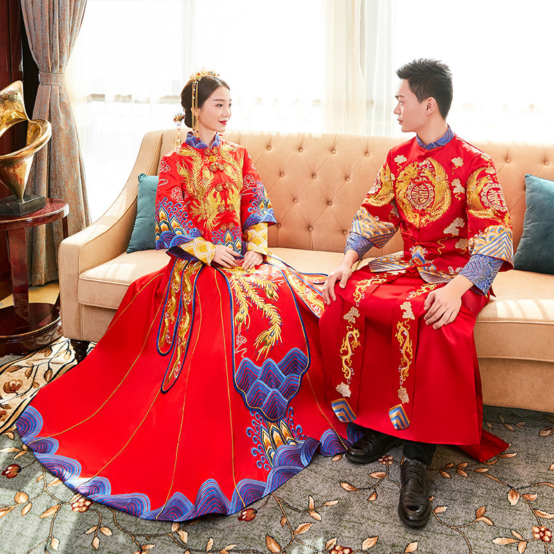 Chinese Style Women Men Wedding Dress Classic Luxurious Lovers Embroidery Phoenix&Dragon Hanfu Clothing Marriage Suit Vestidos