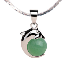 iSTONE 100% Natural Gemstone Green Aventurine Dolphin Shope 925 Sterling Silver Pendant Necklace Fine Jewelry Gift for Lover(China)