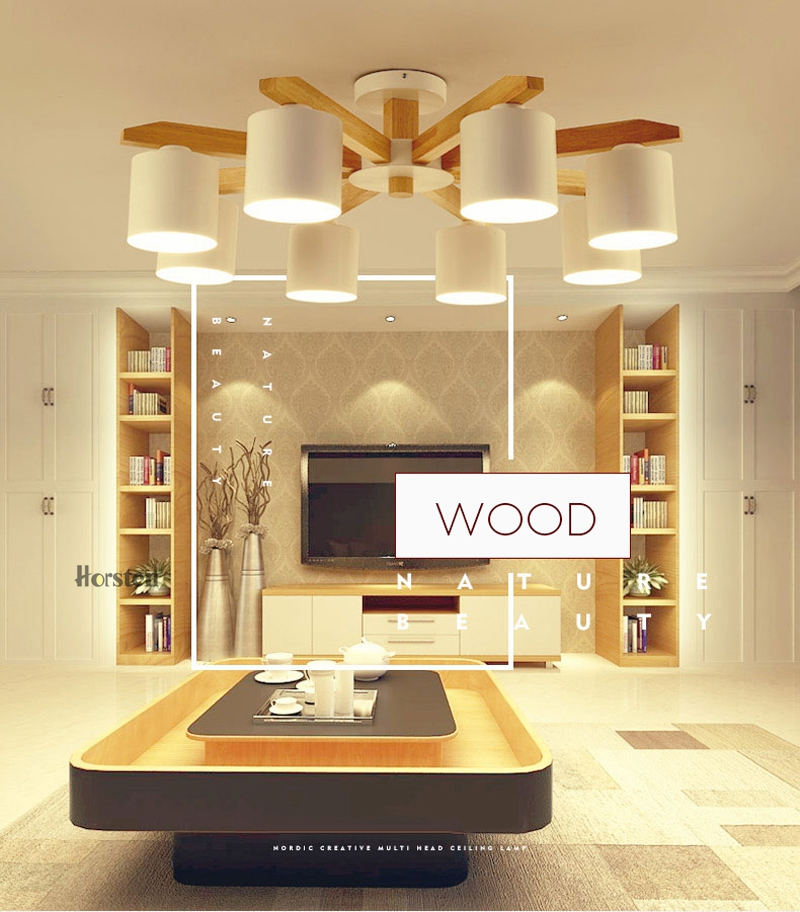 Nordic Japanese Art OAK Wooden Pendant Lights Hanging Wood Lamps Dinning Room Restaurant Fixtures Indoor Decoration Wood Pendant Lamp (1)