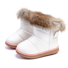 2017 Winter Kids Shoes For Girls Boots Rabbit Fur Soft Sole PU Leather Baby Warm Plush Children Snow Boots Girls Shoes EU21-30