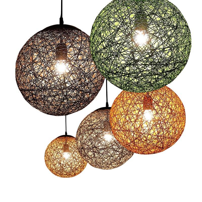 New Creative Personality LED bulb Colorful Pendant Lamps Restaurant Bar Cafe Lamps Rattan Field Pasta Ball E27 Pendant light<br>