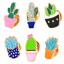 19pcs Creative Plant Cactus Prickly Pots Potted Brooch Tenacious Vitality Clothing Accessories Pet Bag Lapel Pin for Women(China)