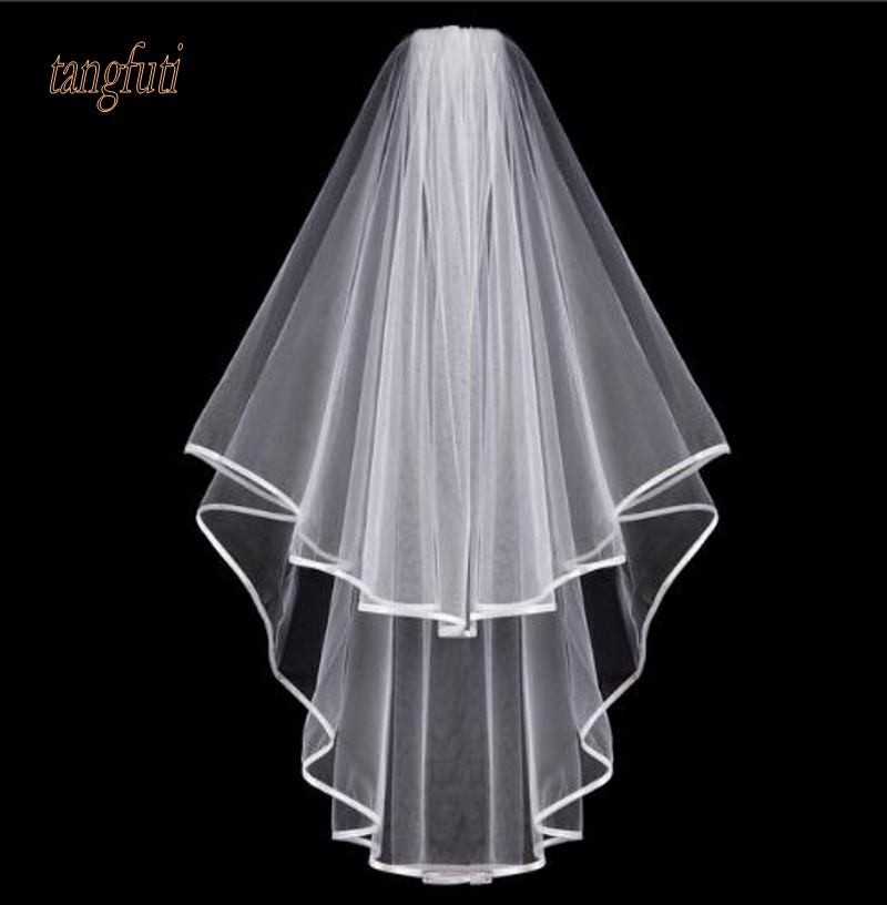 Romad Simple Tulle White Ivory Two Layers Wedding Veils Ribbon Edge Comb Cheap Wedding Accessories Short Bridal Veil R4 Bridal Veils