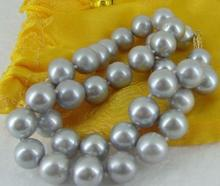 GORGEOUS 18 INCH 10-11MM SOUTH SEA SILVER GREY PEARL NECKLACE choker(China)