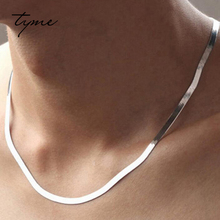 TYME Fashion 925 sterling silver necklace Man jewelry female collarbone blade short chain Silver ornament Flat bone snake chain(China)