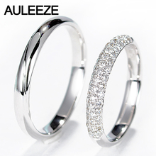 AULEEZE Real Diamond Engagement Wedding Ring Natural Diamond Solid 18K White Gold Rings For Women and Men Couple Wedding Bands(China)