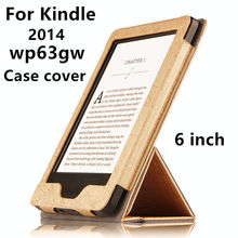 Case For Kindle PU Protective eBook Reader Smart Cover leather For Amazon Kindle wp63gw 2014 listing Sleeve Cases Covers 6''