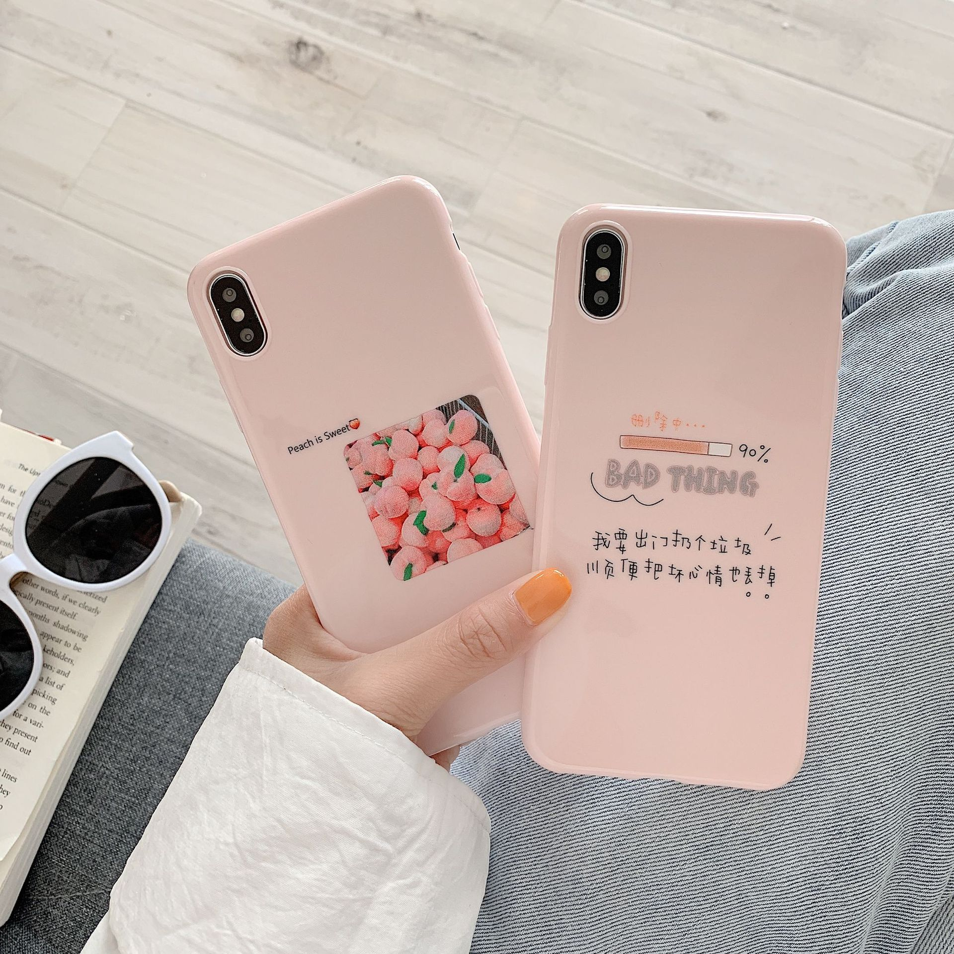 Korean girls illustration peach pink glossy Phone Cases For coque iPhone 7 8 6 6s plus case silicon for iPhone cover X XS max XR