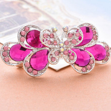 1 pc Retro Vintage Hairpins Ladies Crystal Butterfly Hair clip girl barrette hair accessories for women pink blue color