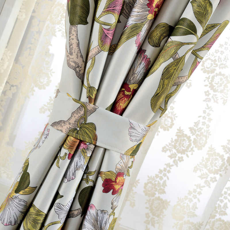 Chinese Classic Floral Printed Curtains Woven Polyester Cotton Bedroom Wedding Rustic Pastoral French Window Drapes JS21C