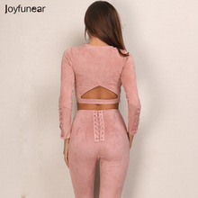 New Suede Leather 2 Piece Set Sexy O-neck long sleeve tight bandage Top And High-Waist pants Slim Sheath Bodycon two pieces set(China)