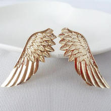 Chic Punk Women Gold Alloy Angle Wing Brooch For Party Bridal Bouquet Metallic Brooch Pin Jewelry Silver Tone Cheap