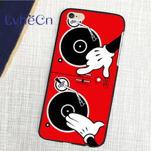 back skins mobile phone cases for iphone 4 4s 5 5s 5c SE 6 6s 7 7s plus 8 ipod touch 4/5/6 Cartoon Hand Dj Turn Table