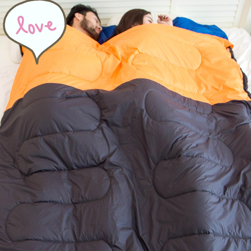 Outdoor Double Sleeping Bag 2.15m1.45m Envelope Spring and Autumn Camping Hiking Portable Sleeping Bag with Pillow (3)