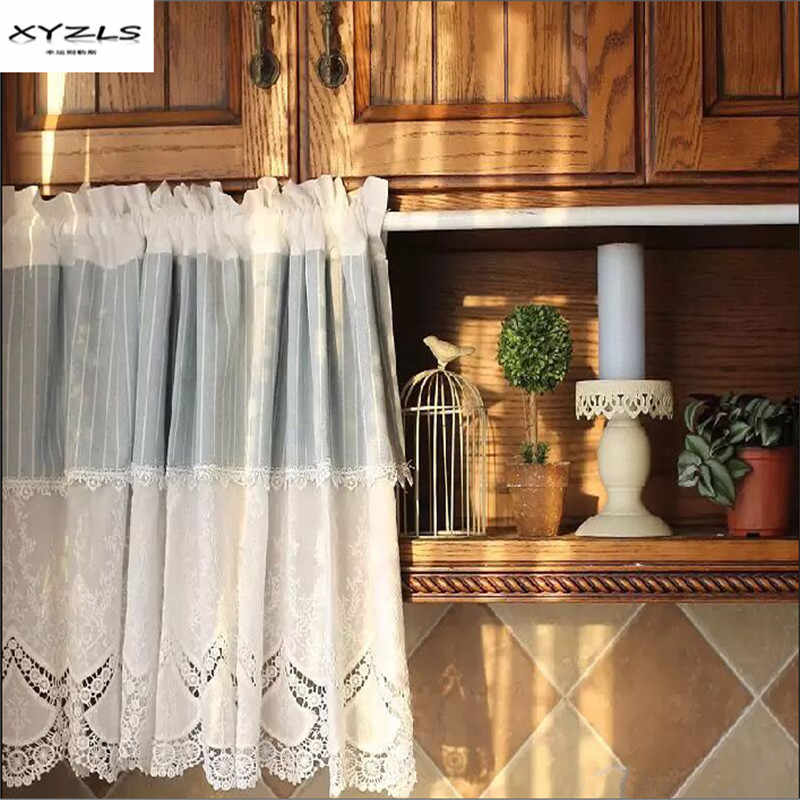 XYZLS Mediterranean Style Blue White Striped Kitchen Half Curtains Embroidered Small Cafe Curtain Living Room Drape Panel 1PC