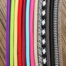 5M 2 Cord 0.75cm Colorful Vintage Retro Twist Braided Fabric Light Cloth Cable Electric Wire Chandelier Pendant Lamp Wires