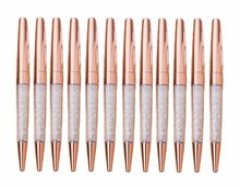 12PCS/Lot New Luxury Bling Metal Rose Gold and Shine Gold Diamond Crystal Pen Ballpoint Pens Office Supplies School Business