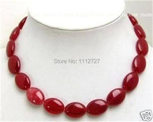 "Fashion jewelry Pretty 13x18mm Red Chalcedony Flat Oval Beads Necklace Natural Stone Mother's Day gifts 18"" MY4327 Wholesale(China)"