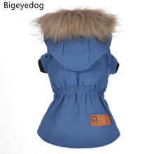 Bigeyedog Winter Dog Coat Jacket Small Dog Clothes Hooded Outerwear Chihuahua Poodle Puppy Clothing Warm Pet Costume(China)