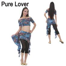 FEECOLOR 12set/lot Belly Dance Costume Set Top Waist Skirts Pants Peacock Printing Pattern Women Dancing Stage Suit t116
