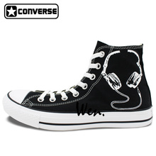 Black Converse All Star Custom Shoes Earphone Microphone Original Design Hand Painted Sneakers Men Women Canvas Shoes