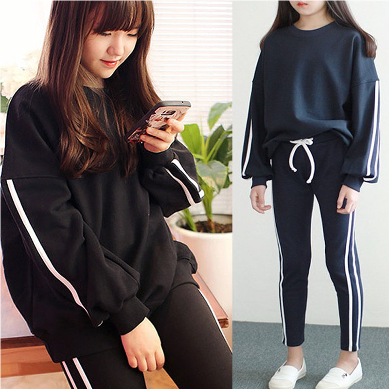 school little teenage girls clothes sports suits black girls outfits tracksuit 2017 autumn sweatshirts tops pants girls sets<br>
