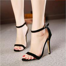 2017 Concise Nude Suede High Heels Sandals Women Sequined Ankle Strap Summer Dress Shoes Woman Open Toe Sandals