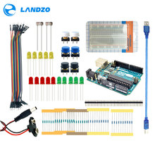 LANDZO arduino 13 in 1 kit new Starter Kit UNO R3 mini Breadboard LED jumper wire button arduino uno r3 as a gift(China)
