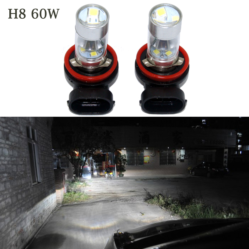 2PCS 60W White 12-SMD H8 LED Bulbs w/ Reflector Mirror Design Fog Lights DRL Replacement Bulbs Error Free Canbus Decode Lamp<br><br>Aliexpress