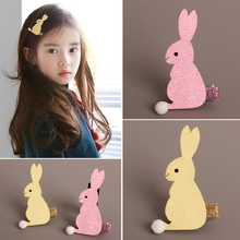 Pink Rabbit Hair Clip Easter Glitter Felt Bunny Barrette Spring Yellow Cartoon Animal Hairpin Short Pompon Tail Hare(China)