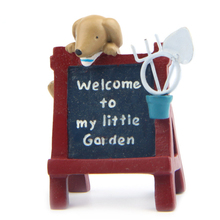 1pcs Welcome To My Garden Dog Billboard Home Decor Terrarium Figurines jardin Miniatures Resin Craft Bonsai Tools Photo props(China)