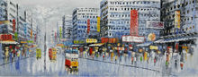 Hand Painted Oil Painting on Canvas Abstract Hong Kong Trams Street Canvas Painting Wall Art Picture Paiting for Home Decoration