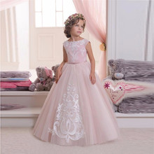 New Pretty Pink Lace Flower Girls Dresses For Weddings And Party Ball Gown Tulle Appliques Tank Cheap Girls Long Pageant Dress(China)