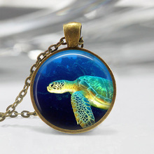 JEPHNE Vintage Sea Turtle Necklace Nautical Jewelry Marine Life Ocean Beach Glass Dome Pendant Silver Bonze Link Chain Necklaces