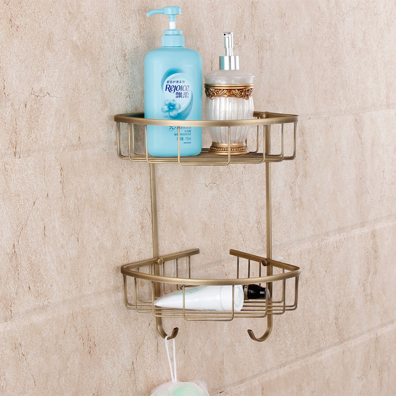 European Antique Bathroom Toilet Copper Brass Copper Triangle Basket Hanging Bathroom Corner Shelves Bathroom Accessories<br>